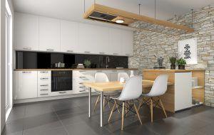 Szkło w kontrastującej do frontów barwie świetnie sprawdzi się w nowoczesnej kuchni!